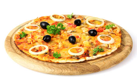 tasty pizza with olives on wooden stand isolated on white photo