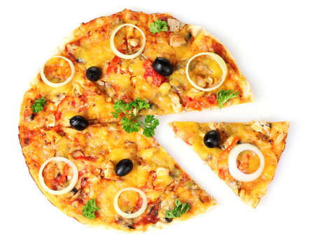 tasty pizza isolated on white photo