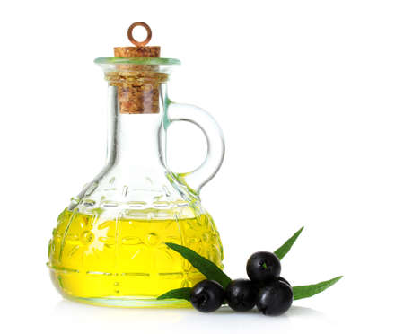olive oil and olives isolated on white Stock Photo - 10018699