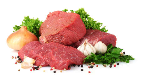 raw meat: raw meat, vegetables and spices isolated on white Stock Photo