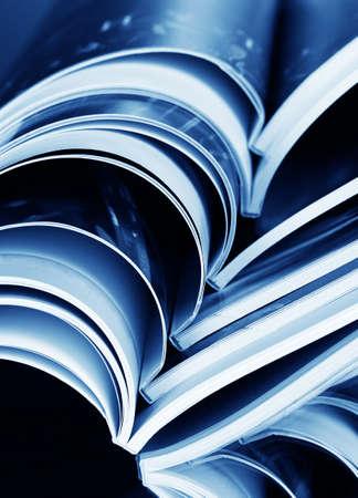 magazine on blue background Stock Photo - 10091082