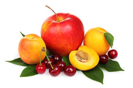 tasty summer fruits isolated on white photo