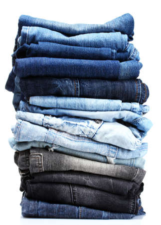 jean pocket: lot of blue jeans isolated on white