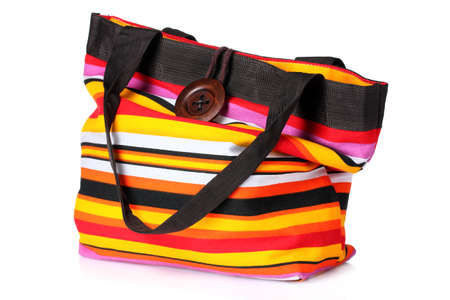 bright striped beach bag isolated on white Stock Photo - 10119081