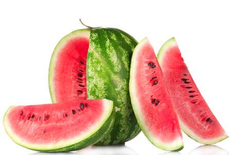 verse watermeloen op wit wordt geïsoleerd Stockfoto