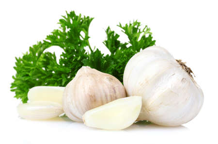 clove of clove: fresh garlic isolated on white Stock Photo