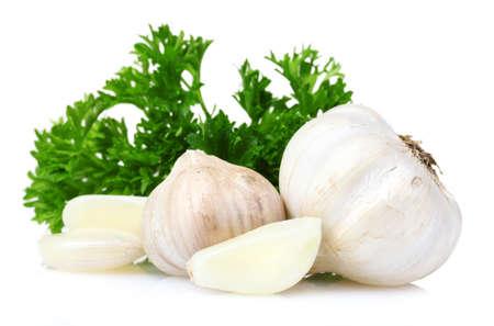 fresh garlic isolated on white Stock Photo - 10202354