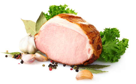 butcher's shop: tasty ham isolated on white