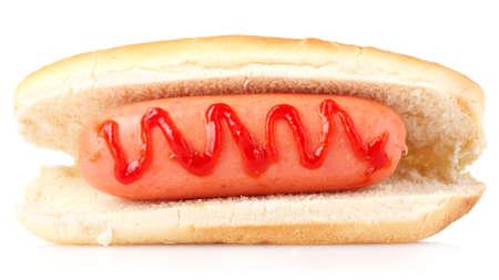 tasty hot dog isolated on white photo