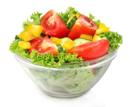 salad: vegetable salad on plate isolated on white