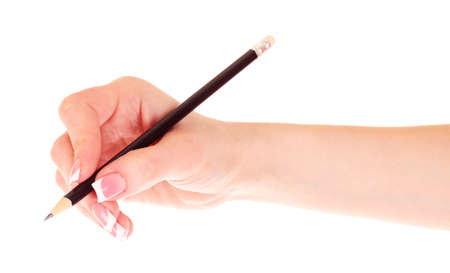 womans hand and pencil isolated on white photo