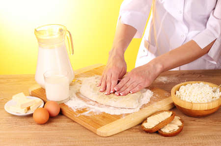 cooking dough on brown background photo