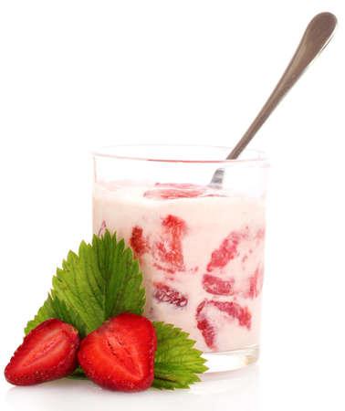 yogurt and strawberries isolated on white photo