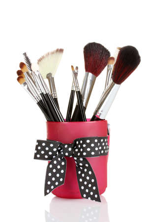 brushes for makeup isolated on white photo