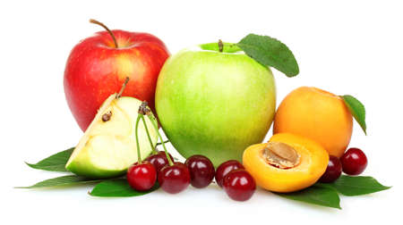 Beautiful apple, apricots and cherries isolated on white photo