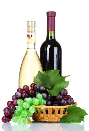 ripe green and red grapes in basket and wine isolated on white photo