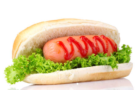 wiener dog: tasty hot dog isolated on white