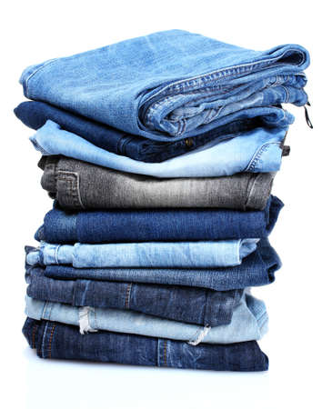 lot of blue jeans isolated on white Stock Photo - 10295519
