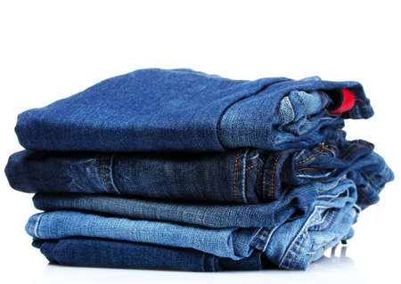 lot of blue jeans isolated on white Stock Photo - 10295517