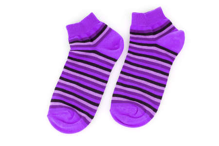 violet striped socks isolated on white photo