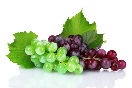 ripe green and red grapes isolated on white photo