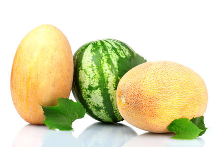 two ripe melons and watermelon isolated on white photo