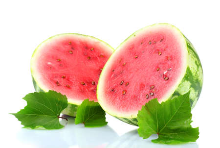 ripe sliced watermelon isolated on white photo