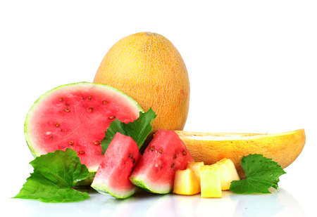 ripe sliced watermelon and melon isolated on white Stock Photo - 10321104
