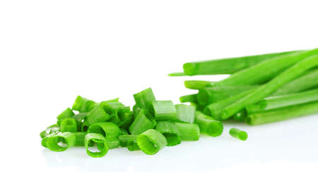 chopped green onion isolated on white Stock Photo - 10321010