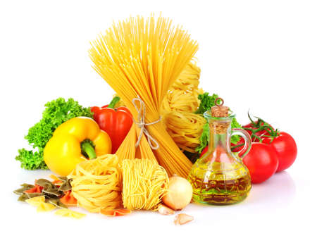 mediterranean home: tasty vermicelli, spaghetti and vegetables isolated on white