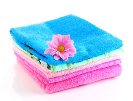 stacked colorful towels on a white background Stock Photo - 10321045
