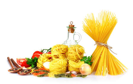 tasty vermicelli, spaghetti and vegetables isolated on white Stock Photo - 10321019
