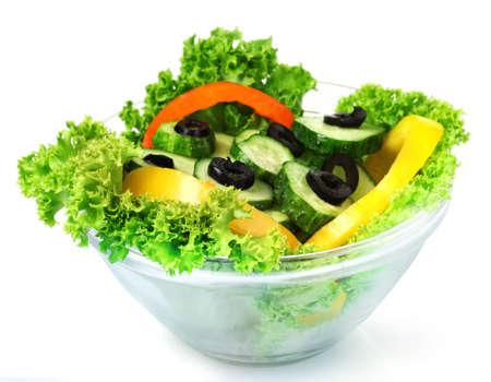 pansement: Salade de l�gumes sur plaque isol� sur fond blanc Banque d'images