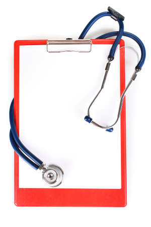stethoscope and folder isolated on white photo