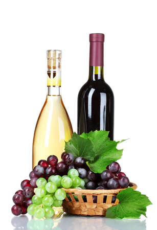 ripe green and red grapes in basket and wine isolated on white Stock Photo - 10327283