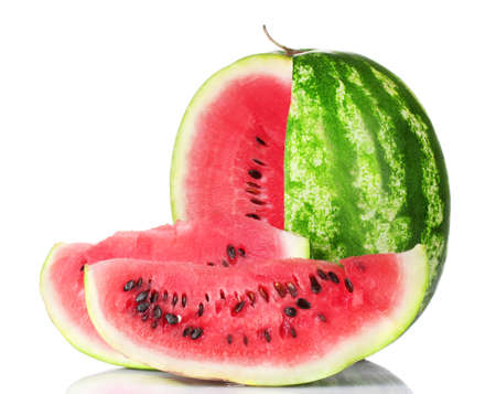 ripe watermelon and slices isolated on white photo