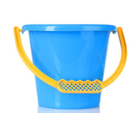 baby toy bucket isolated on white photo