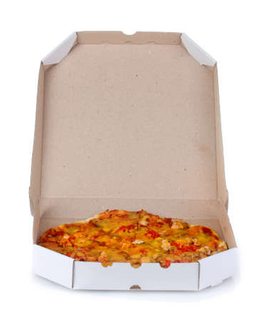 tasty pizza in the package is isolated on white photo