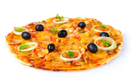 tasty pizza with vegetables and meat isolated on white photo