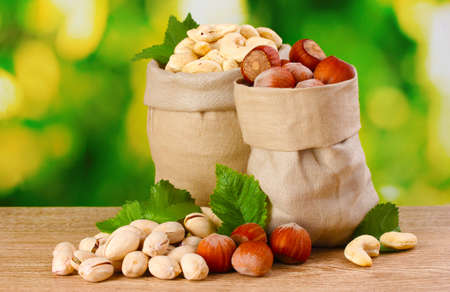 protein crops: many nuts in bags on green background
