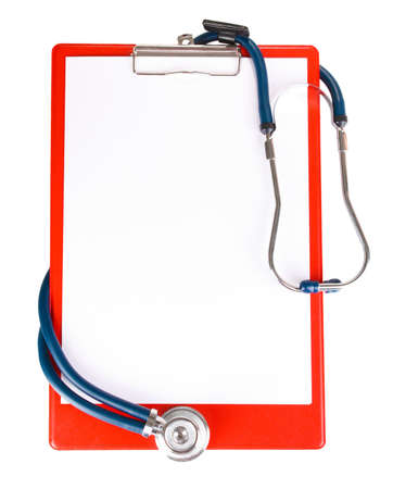 a diagnosis: stethoscope and folder isolated on white