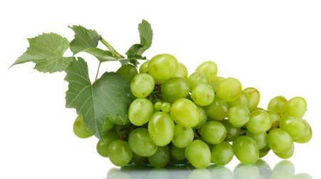 Ripe green grapes isolated on white photo