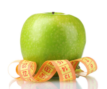 green apple and measuring tape isolated on white Stock Photo - 10437904