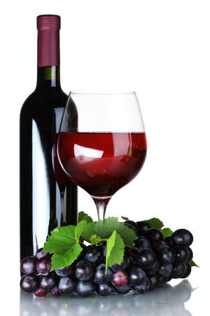 wine and grapes: Ripe grapes, wine glass and bottle of wine isolated on white
