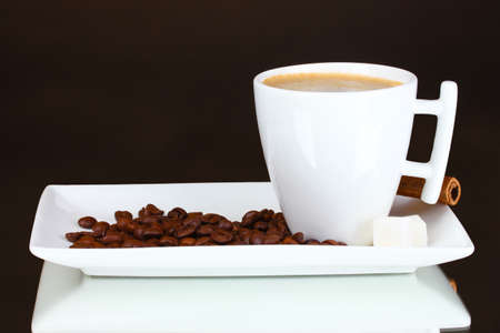cup of coffee, coffee beans on brown background Stock Photo - 10460818