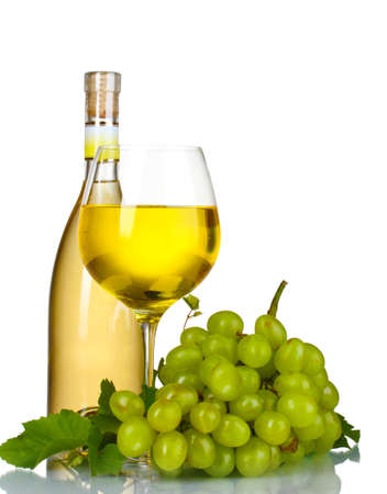 green bottle: Ripe grapes, wine glass and bottle of wine isolated on white