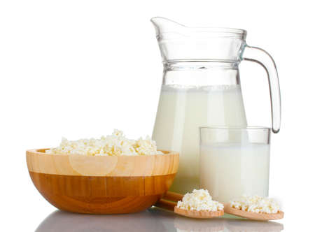 Delicious dairy products isolated on white photo