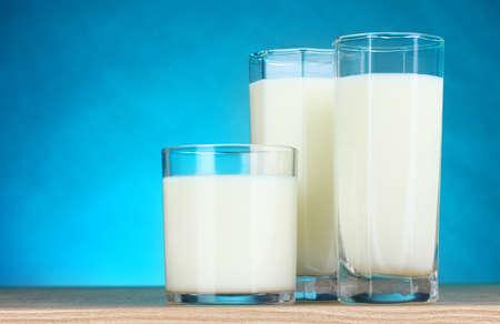 Tasty milk in glasses on blue background photo