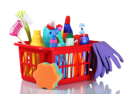 household objects equipment: full box of cleaning supplies and gloves isolated on white Stock Photo