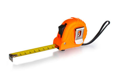 Extend: Tape measure isolated on white Stock Photo